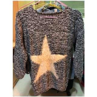 🚚 五角星拼色針織毛衣