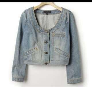 85%新 日本大牌Jill Stuart 短身無領藍色牛仔外套 平賣