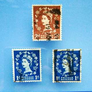 Stamp Great Britain: 1952 pre decimal young Queen Elizabeth II stamps, lot of 3 stamps