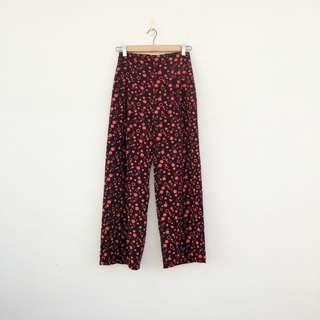 二手 黑紅 點點 高腰 長褲 寬褲