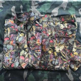 valentino camobutterfly shirt n pants set