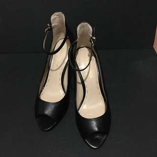 🚚 ENZO ANGIOLINI Nine West 全新復古款黑色露趾中跟鞋 #有超取最好買