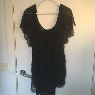 Mango MNG black lace dress LBD