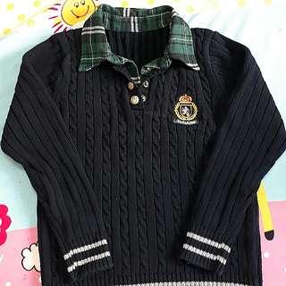 韓國製造💎學院風假兩件針織毛衣😘超讚質料買到賺到 約9成新💐二手國小童裝毛衣