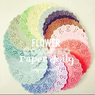 Flower shape color paper Doily
