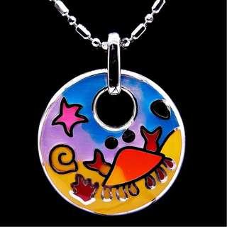 1 Set Enamel Sterling Silver Pendant Necklace N Earrings