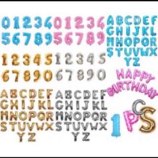 "Alphabet Number Foil Balloon - 16"" (40cm)"