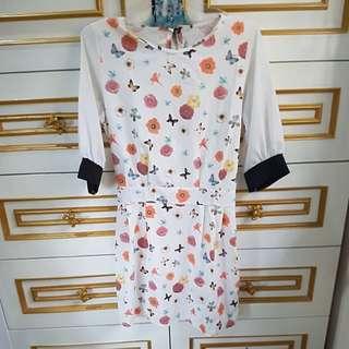 dress bunga-bunga putih