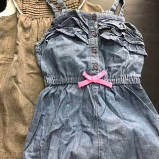 Girls Dress And Overall Combo