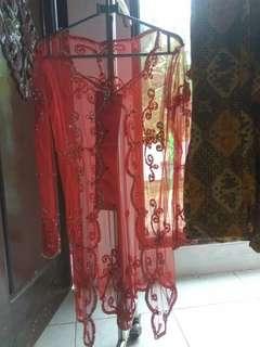 Kebaya Merah [BARU] Lengan Panjang + Rok Batik Jadi