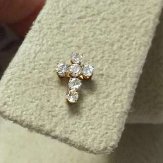 日本製 單隻18K金 十字架鋯石耳環 迷你耳釘    Made in Japan 100% real 18K gold cross mini earring(single)