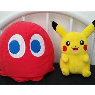 Pikachu / Pacman Blinky ghost plush