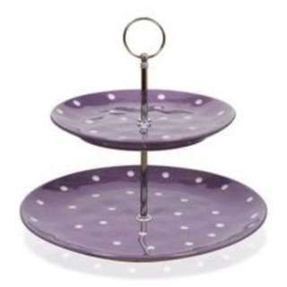 Maxwell Williams sprinkle cake stand 2 tier purple polka dot