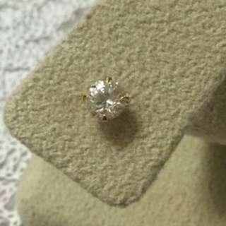 日本製 單隻18K黃金 6mm鋯石耳環 迷你耳釘    Made in Japan 100% real 18K yellow gold with 6mm CZ stone mini stud earring(single)