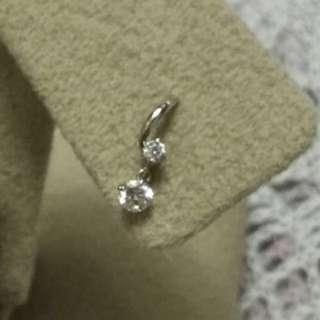 日本製 單隻14K白金鋯石耳釘  Made in Japan 14K white gold mini stud earring(single)