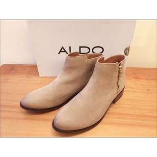ALDO麂皮低跟拉鍊短靴38(穿1次,小瑕疵)