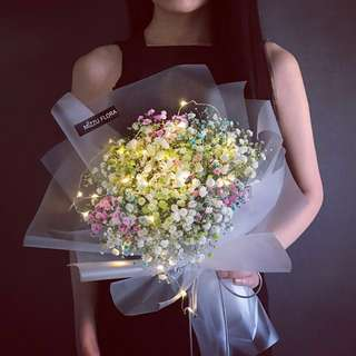 Valentine's Day Flower |Mix Color Baby's Breath | Anniversary Bouquet | Korean Style Bouquet | Rainbow Baby's Breath | Graduation Flower Bouquet | Flower Bouquet