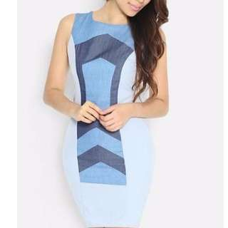 🚚 RELOCATION CLEARANCE! BN Lara J Sophiscated Bodycon Demin Patchwork Dress