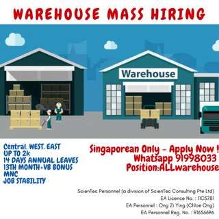URGENT Warehouse Assistant x50 (Up to 2k / Island Wide)
