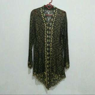 Kebaya Kartini Burkat Payet Black Gold Modern