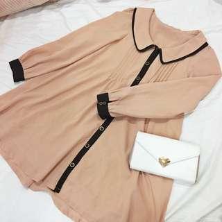 日本Dazzlin風格草莓巧克力拼色長袖襯衫洋裝