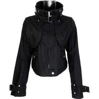 日本品牌OLIVE des OLIVE黑色純棉特殊造型可拆拉鍊騎士外套 日本製