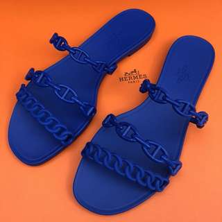 Hermes 藍色豬鼻鍊膠拖鞋 36/38號現貨