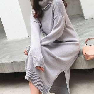 🚚 韓款 長版 高領毛衣  寬鬆側邊開衩針織連衣高領毛衣