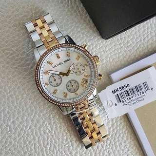 MICHAEL KORS Ritz Chronograph Mother of Pearl Dial Tricolor Steel Ladies Watch