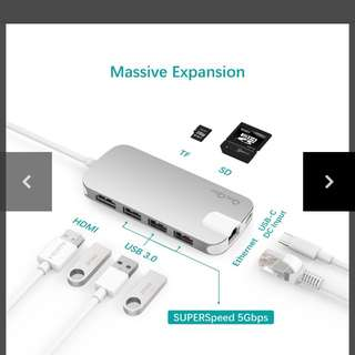 REPRICE!!!QACQOC GN30H Premium USB-C Hub with Power Delivery 3 SuperSpeed USB 3.0 Ports for MacBook