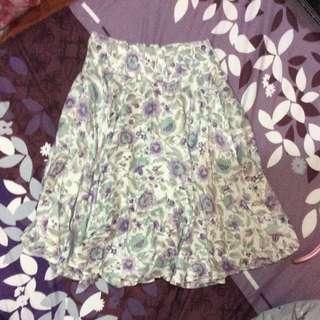 古著 紫色 花卉 高腰 及膝裙 中裙 圓裙 #有超取最好賣