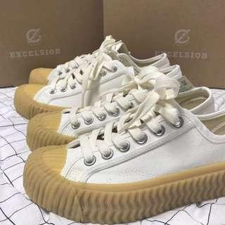 🚚 韓國正品 現貨 excelsior 餅乾鞋 白 25號 全新 韓妞