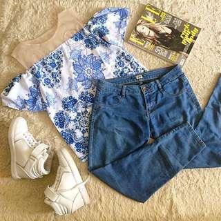 TOPSHOP floral sabrina top + PULL&BEAR denim jeans