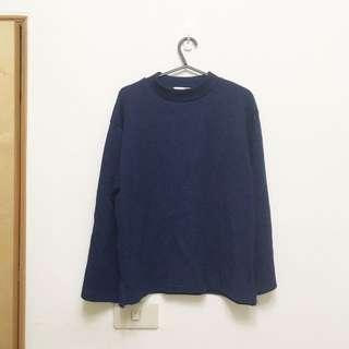 全新。正韓藏青色針織小高領寬袖上衣 #冬季衣櫃出清