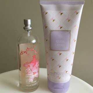 Ariana Grande coffee lotion and The Body Shop cherry blossom perfume