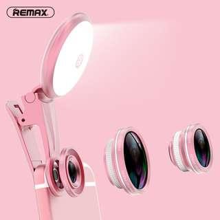 Remax魚眼鏡/廣角鏡/50X微距鏡頭+聚光燈 – 粉紅