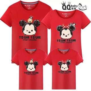 Tsum Tsum Family Fitted  Tsum Tsum红色亲子装
