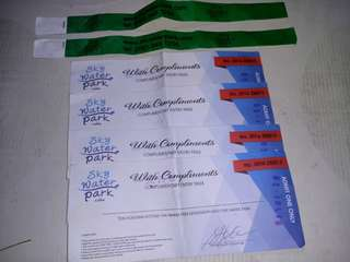 Voucher and bracelet for entrance for skywaterpark tag 1k per adults and 900 per kids.you can save more if youre going to buy this product.