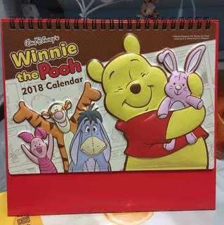 2018年 月曆 winnie the pooh