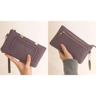 (含運) 全新真皮 韓國帶回手拿包 錢包 藕紫色