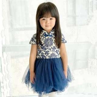 LLMCNY134 Girls Blue Porcelain Print Cheongsam Dress