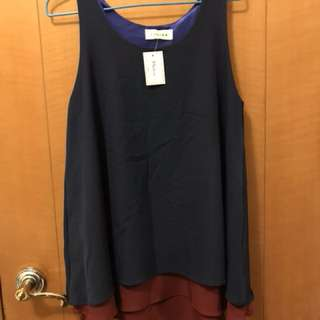 NEW 2 Layers A-line Sleeveless Contrast Navy Maroon Top