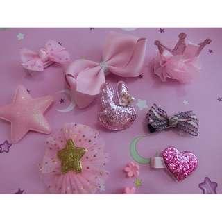 粉紅公主髮夾十件禮盒