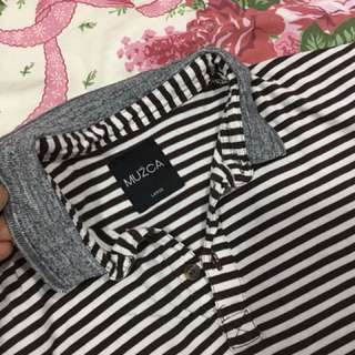 Baju garis putih coklat