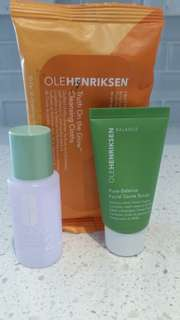 Ole Henriksen Wipes & Scrub, and Clinique Toner