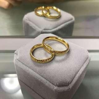 18k yellow gold wedding ring set