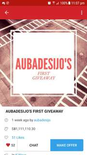 AUBADESIJO'S FIRST GIVEAWAY REPOST