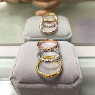 18k three colours gold ring set