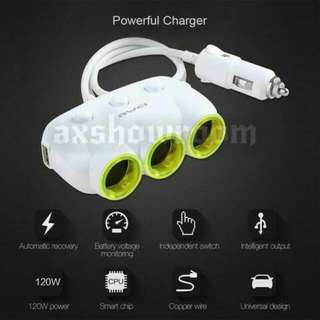 Awei C-35 Multi-Function Universal Car Charger 3 Socket Adapter with 2 USB Port Adaptor (White Or Black)