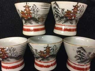 日本老九谷燒酒杯 五個